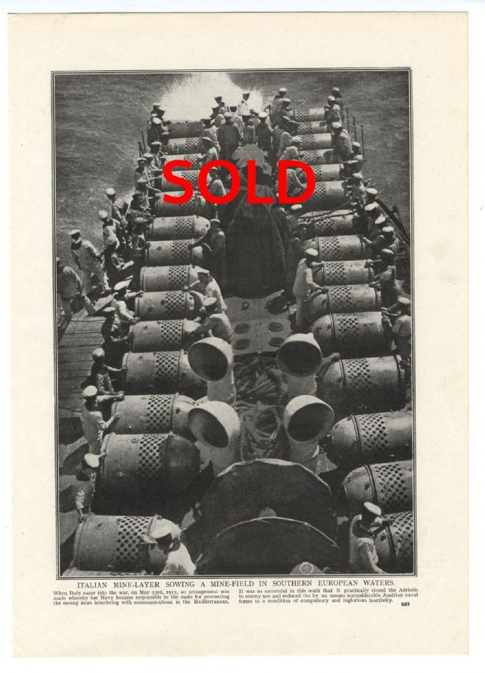 1916 WW1 Print WAR AT SEA Italian Mine Layer MINEFIELD Southern Europe SOLD